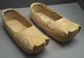 Lamp, Khotan. Wooden shoes, Turfan, 6 th 7 th century (Inv.