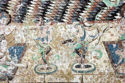 Fig. 6. Music and dance in the Tableau of the Western Pure Land, main chamber, south wall, Mogao Cave 220, Early Tang (mid-7 th century). Courtesy of the Dunhuang Academy.