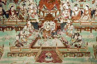 Fig. 12. Music and dance scene in the Western Paradise tableau, Yulin Cave 25. Courtesy of the Dunhuang Academy. [In] that Buddha land heavenly music is played continually. The ground is made of gold.