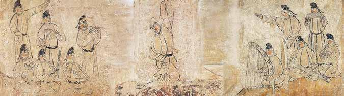 Fig. 17. Music and dance, stone screen on funeral couch, Tomb of An Jia, Northern Zhou (collection of the Shaanxi History Museum). Courtesy of the Shaanxi Archaeology Institute.