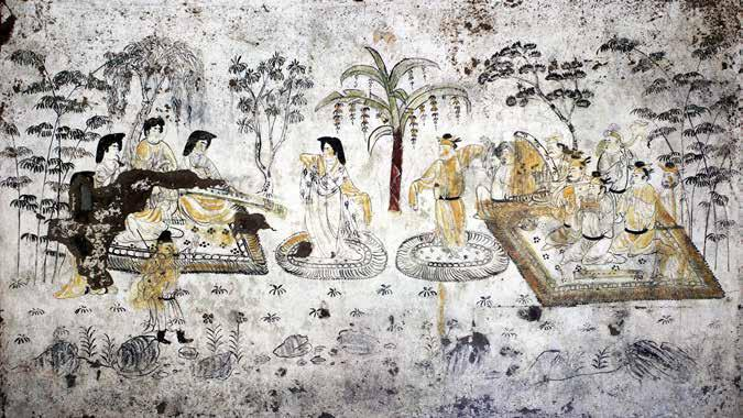 Fig. 19. Music and dance, mural painting, Tomb of Han Xiu, Tang dynasty (collection of the Shaanxi History Museum). Courtesy of the Shaanxi History Museum.