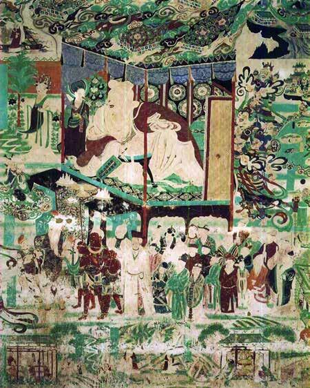 Fig. 23. Banquet scene, Vimalakirti tableau, Mogao Cave 9, Late Tang. Courtesy of the Dunhuang Academy. Cave 9 [Fig.