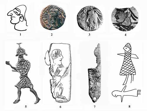 Fig. 10. Depictions of heads, bodies and full length figures of anthropomorphs in profile on artifacts: 1) a table jug, Kaigarach dwelling (after: Brykina 1982, p. 127, Fig.