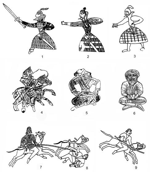 Fig. 11. Silhouettes depicting clothing of armed men: 1 3) bone belt plaques from the Orlat Cemetery (after Pugachenkova 1987, pp.