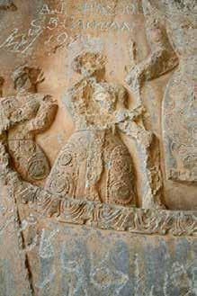 Fig. 12 (left). Rock relief (detail). in the large grotto at. Taq-i Bustan, Iran, 7 th century. Photograph courtesy of Matthew Canepa. Fig. 13 (right).