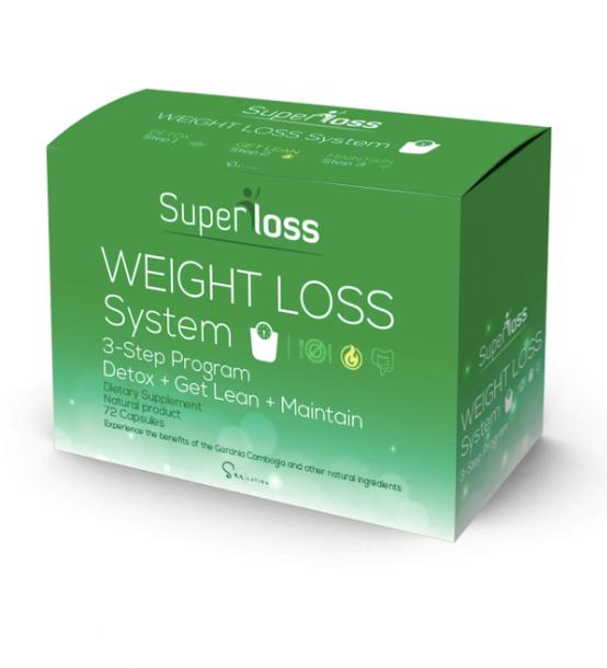 Superloss Weight Loss System A dietary supplement that helps losing weight in 3 steps: detoxifying the body, burning fat with L-Carnitine and maintaining the results with Garcinia Cambogia while