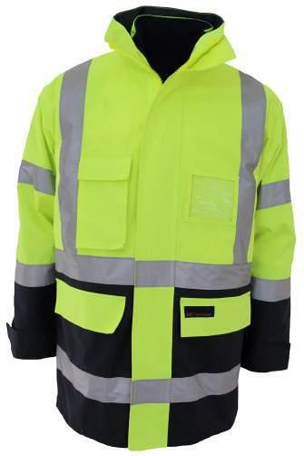 3965 HIVIS H PATTERN D/N R/VEST concealed hood, storm cuffs with adjustable sleeve tabs, clear ID & phone pockets,  200D polyester/pvc.