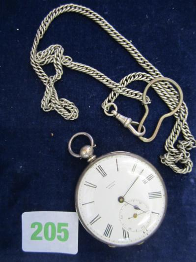 "Pocket watch made by ""Badollet"" Geneva with watch chain"