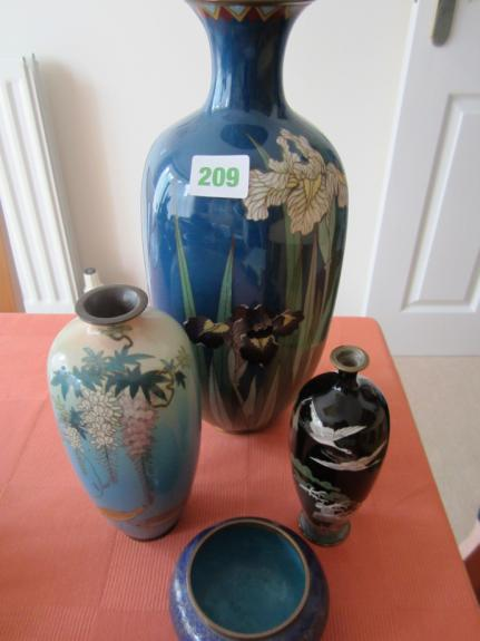 3 Cloisonné vases and 1 pot