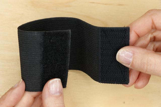 Remember to put the velcro on opposite sides of the elastic so that they meet when the wristband is closed.