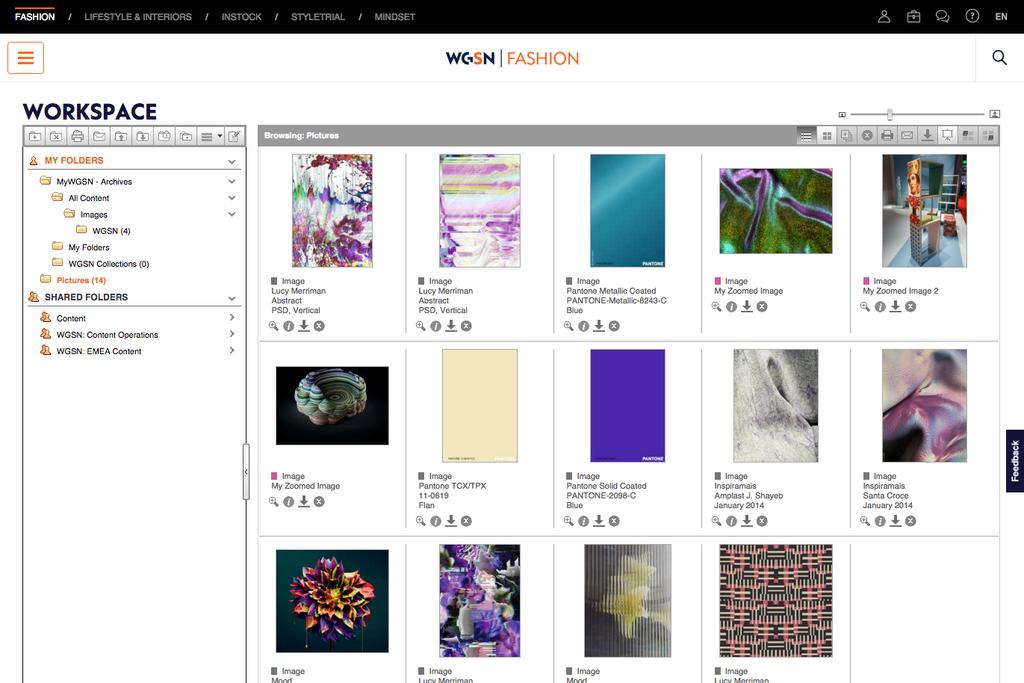IMAGE & DESIGN RESOURCES Search more than 17 million zoomable high-resolution images to find exactly what you need IMAGES WORKSPACE Use WGSN s patented technology