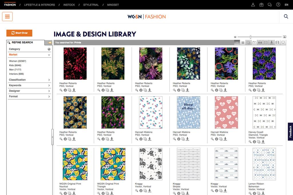 WGSN functionality allows you to rearrange images, colour code your folders, share and collaborate easily with colleagues and more!