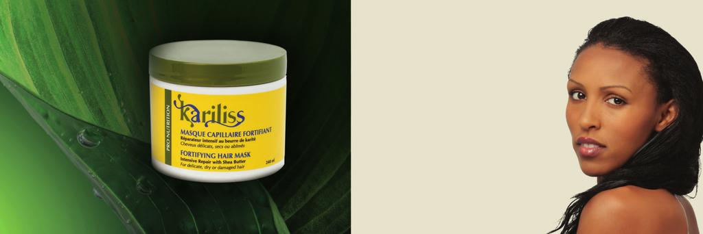 Kariliss Hair Mask is a restorative hair treatment that nourishes and revitalizes brittle hair, dry or damaged by dyes, relaxers, weather conditions and chemical styling products.