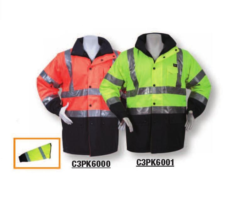 ANSI CLASS III FOUL WEATHER GEAR C3WIN5000 ORANGE / C3WIN5001 LIME Lightweight waterproof parka/rain jacket ANSI 2010 Weatherproof outer shell constructed of 300D PU coated ANSI certified fluorescent