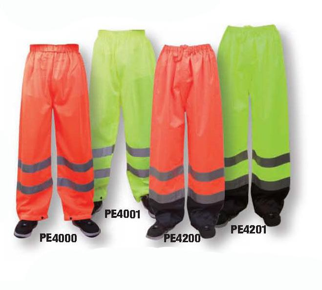 LIME WATERPROOF PANTS PE4200 ORANGE / PE4201 LIME Meets ANSI Class I when worn alone Meets ANSI Class II when worn with Class I vest Meets ANSI Class III when worn with
