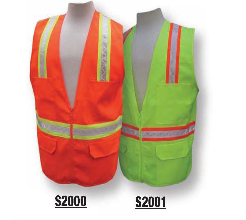 MULTI-POCKET SURVEYOR S VESTS S2200 ORANGE / S2001 LIME 100% new light weight fluorescent polyester fabric Full mesh back for more air flow Non-conductive nylon zipper front closure Two individual