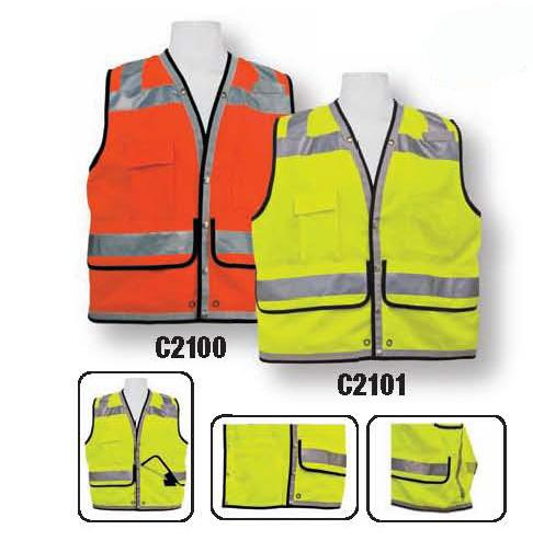 light weight fluorescent polyester fabric Full mesh back for more air flow Non-conductive nylon zipper front closure Two individual chest pockets for pens/radio Two flapped velcro closure pockets Two