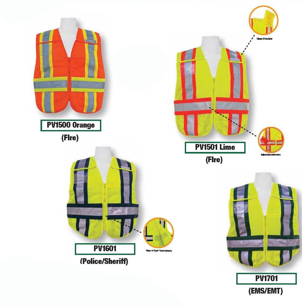 ANSI 207-2006 DUAL ANSI CERTIFIED Meets ANSI/ISEA 207-2006 public safety standard Color coded panels 100% polyester lime micro mesh Wear-N-Tear front closure Drop shoulder breakaways, breakaway