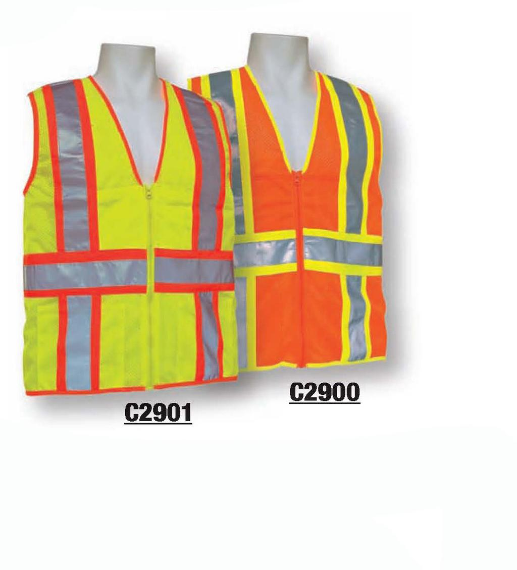 ANSI CLASS II C2820 ORANGE / C2821 LIME 100% new lightweight fluorescent polyester fabric Non-conductive zipper front closure Two individual chest pockets for pens/pens Two flapped velcro closure