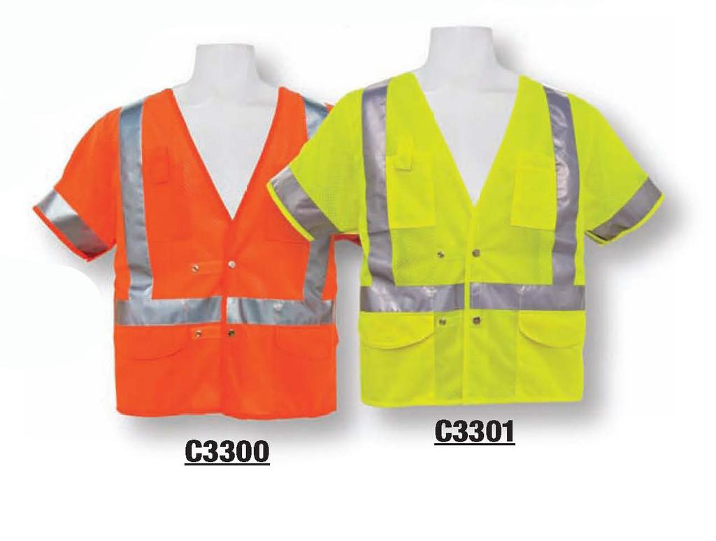 ANSI CLASS III C3000 ORANGE / C3001 LIME I 100% ANSI certified ultra-lightweight fluorescent polyester mesh Non-conductive zipper front closure One left 2-tier 3 division pocket for radio/pens Two