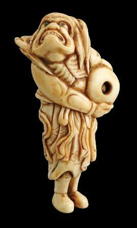 -kyoto School-A bone model of a sennin,looking every bit a holy fool. He carries a large tama.
