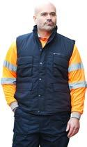 5 High-Visibility Clothing Work & Corporate Wear page 39 Polycotton Bodywarmer code: AC050N Polyester/cotton fabric outer shell, polyester quilt lining Size 8 zip fastener Studded storm