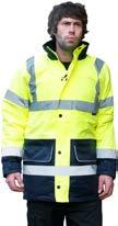 to EN 471 class 2:2 (inner bodywarmer) Conforms to EN 343 2 band and brace 300D oxford PU fabric Mesh lining in jacket Reversible