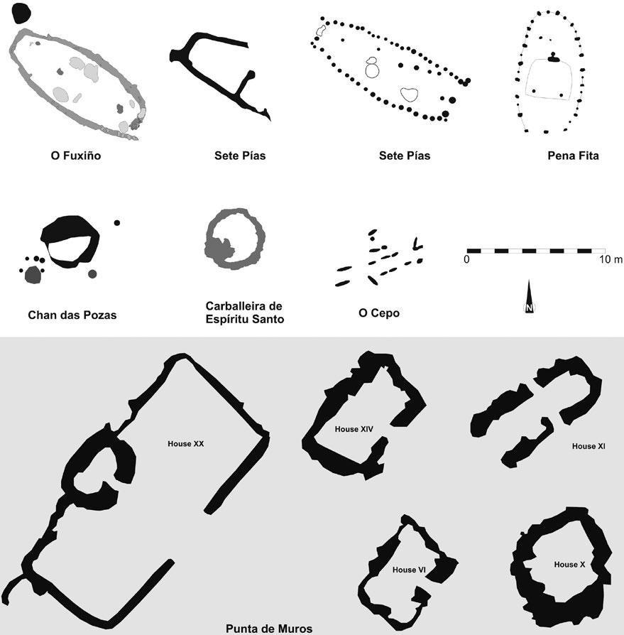 Later Prehistory to the Bronze age: 1. The Emergence of warrior societies Figure 8. Summary of the most important dwellings from the sites selected in this study.