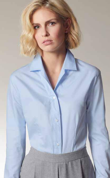 fabric with easy-care finish Closed collar form Trendy, longer form Two-layer yoke on the shoulders Classic fit feminine look thanks to dart seams at the