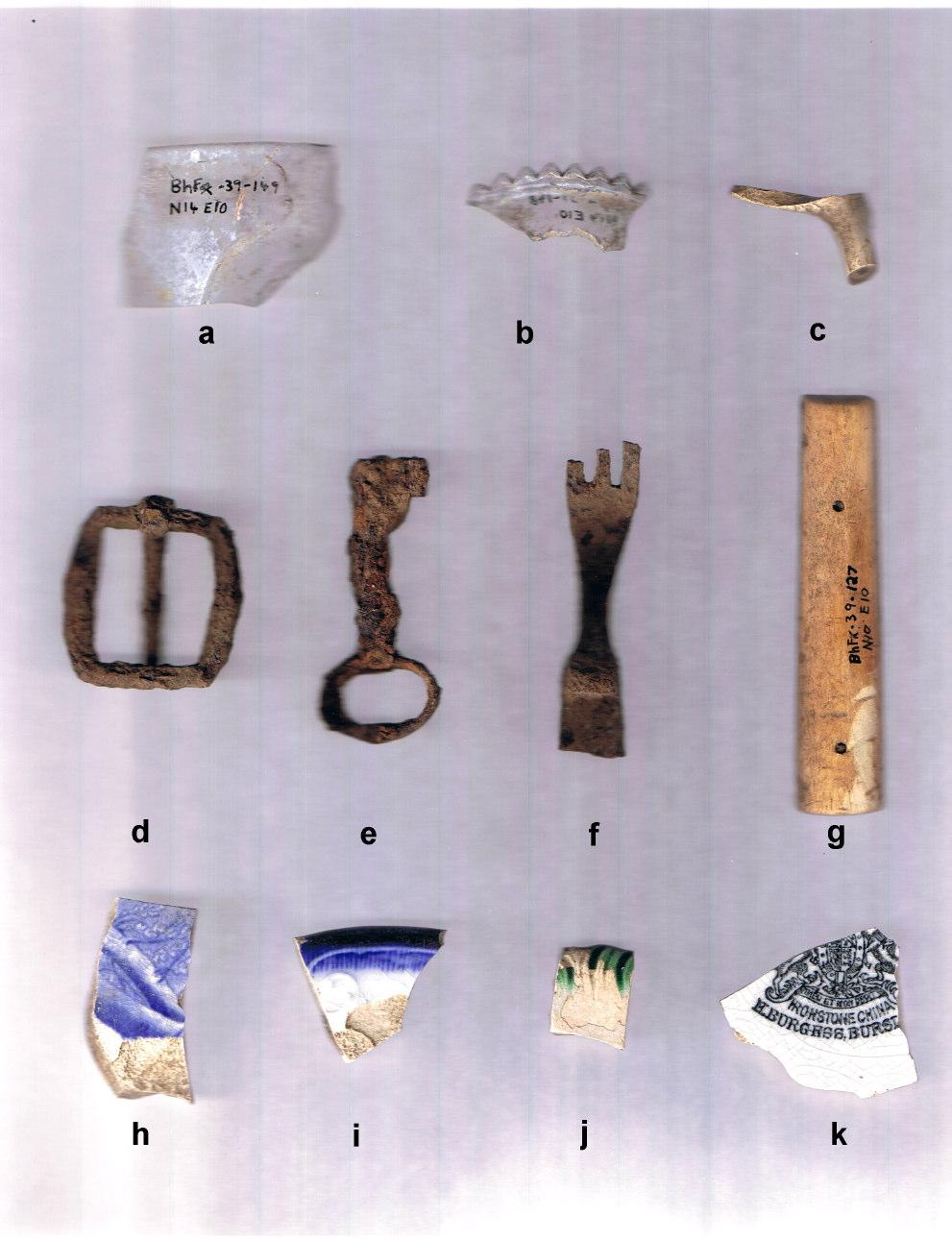 Plate 10: Representative Stage 3 Artifacts from Gourley Site (BhFx-39) a, glass tumbler rim fragment, BhFx-39-149, N14E10 b, clear glass crenellated lantern rim, BhFx-39-148, N14 E10 c, clay pipe