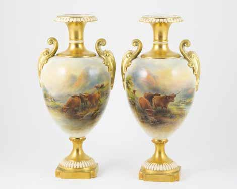 5cm height $6,000-8,000 341 RW Urn bulbous body painted with sheep, signed H Davis, 28cm height $5,000-8,000 342 RW Urn ornately handled flattened ovoid body painted with sheep, signed H Davis, 31cm