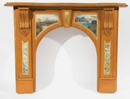 Green Seuffert label to inside of box. W. 29 x H. 7.5 x D. 10.5cm $3,000-5,000 796 Carved Kauri Fire Surround decorated with five hand painted panels attributed to Charles Heaphy.