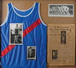 $10,000-20,000 798 Framed Peter Snell 1993 Wanganui Memorial Singlet framed together with a signed photo of the runners from the world record mile at Wanganui in 1962, two other photos of Snell and