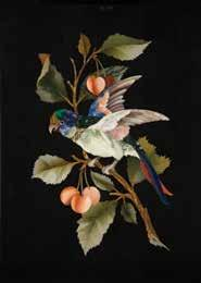 910 Late C19th Grand Tour Pietra Dura Tile parrot on flowering cherry branch inlaid with many hardstones, 37 x 25.