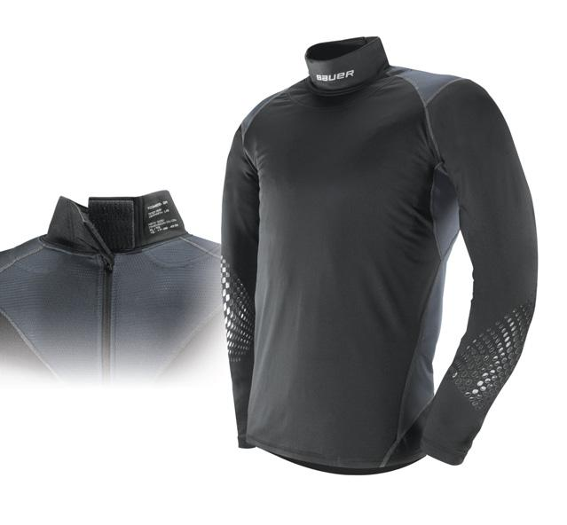 BAUER PROTECTIVE BASE LAYER SAVE YOUR NECK Engineered to react to the needs of the elite hockey player, BAUER performance apparel has always been a step ahead.