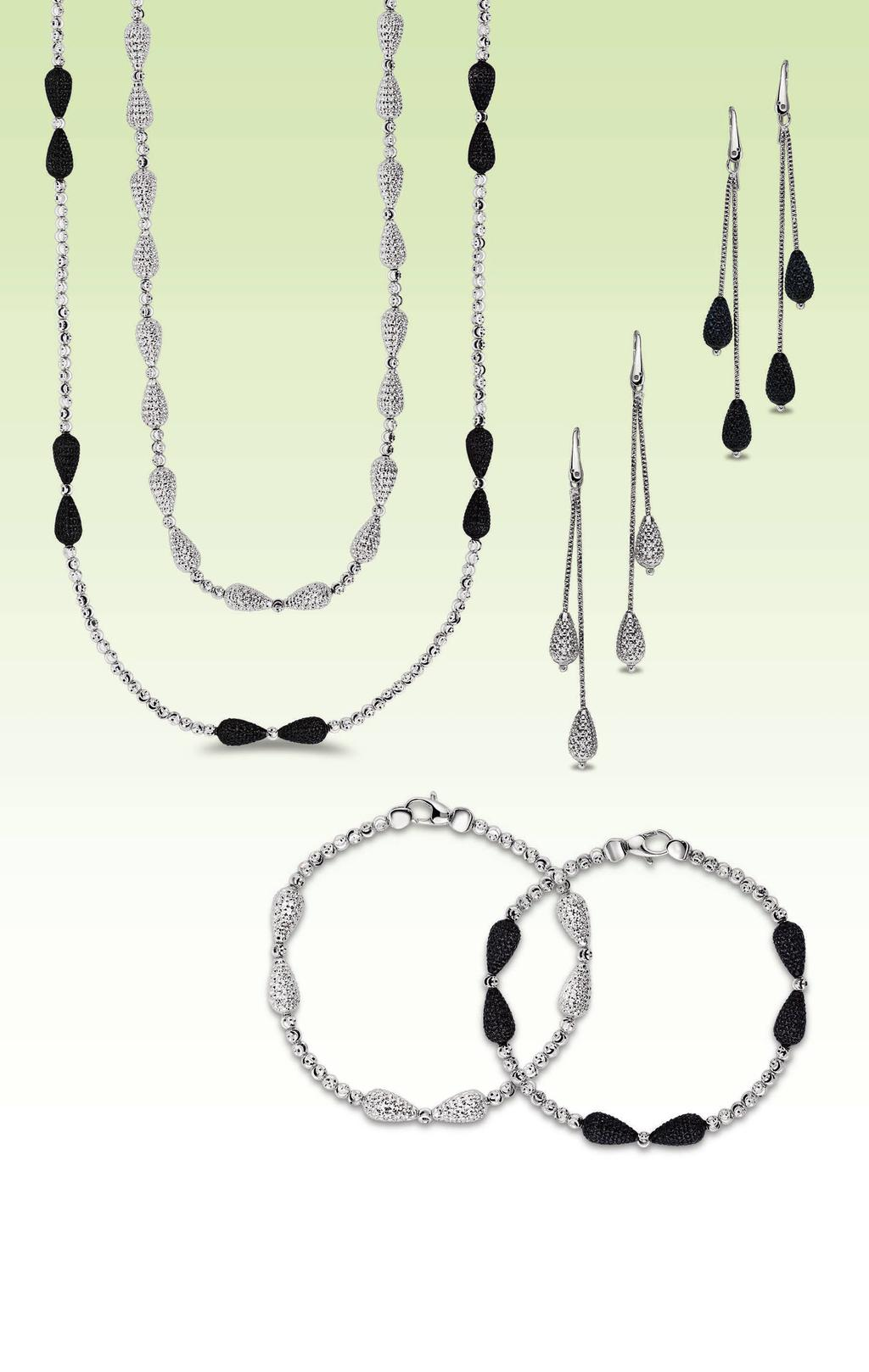 A A. 925 sterling silver, platinum plating, diamond cut bead necklace, 16 + extender, $275. 925 sterling silver, platinum & rhodium plating, diamond cut bead 36 necklace, $385.