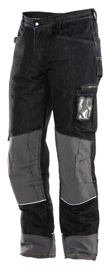 Craftsman trousers Denim Spacious front pockets Comfortable, hard-wearing and colour proof denim Pocket with zip and IDcard pouch Kneepads can be adjusted at two heights Reflective piping on legs