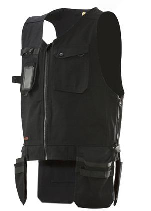 Craftsman vest Chest pocket with ID-card pouch Ring-spun cotton/polyester is a fabric with strength from polyester
