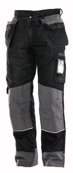 Reinforced back pockets. Hammer loop and ruler pocket on right leg. Pocket on left leg with zip and ID-card slot. Prebent knees for optimized fit.