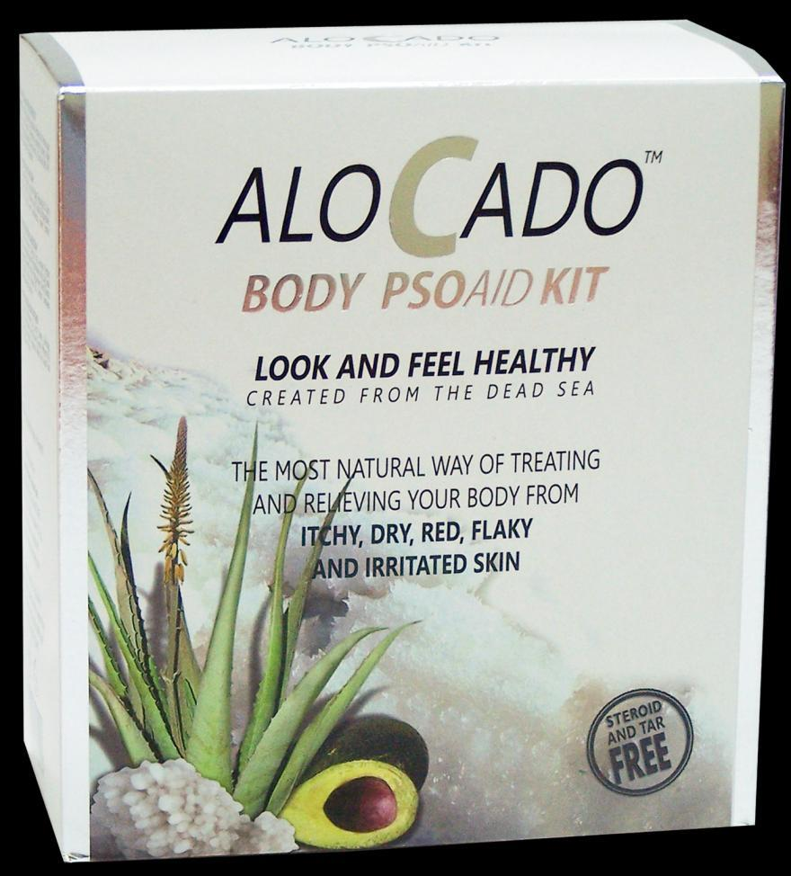 Alocado Body & Scalp Kits Alocado PSOAID Body kit The Alocado PSOAID Body kit contains a combination of four products for the treatment of dry to very dry irritated, itchy, flaky and damaged skin.