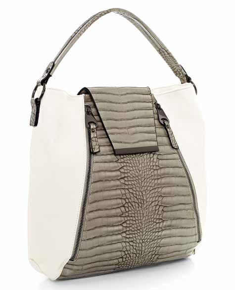BACK VIEW 58067 White leather-look handbag. Ash mockcroc leather-look detail.