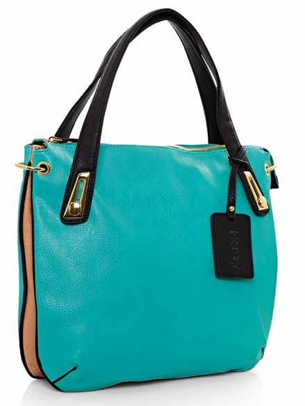 BACK VIEW 58049 Turquoise leather-look handbag. Caramel and Black leather-look trim. 24ct gold plated hardware. Central metal zip closure. Two inner utility pouches.