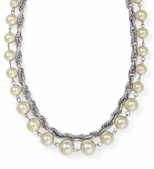 52138 PE Gunmetal plated earrings. 8mm Cream glass pearls. NZ$15 54110 Rhodium plated necklace.