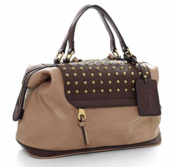 BACK VIEW 58062 Cappuccino leather-look handbag. Chocolate Brown leather-look trim. Metal stud detail. 24ct gold plated hardware. Central metal zip closure.