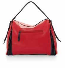 BACK VIEW 58055 Red leather-look handbag. Black leather-look trim. Gunmetal plated hardware. Central metal zip. Two inner utility pouches.