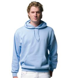 575M Jerzees Colours Hooded Sweatshirt 50% combed ringspun cotton/ 50% polyester. Tubular body. Drop shoulder style. Taped back neck. Double thickness hood with topstitch detail.