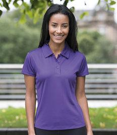 JC045 AWDis Just Cool Girlie Wicking Polo Shirt 100% polyester. Neoteric textured fabric with inherent wickability. Ladies fit. Self fabric collar.