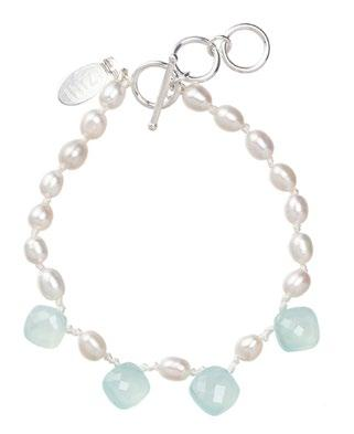 13 Blue Chalcedony and Pearls Silk Knotted Drop Bracelet AAA Blue Chalcedony puffed diamond cut; dyed (India) Freshwater Pearls (China) Sterling silver findings (US, Italy) Silk cord (Germany)