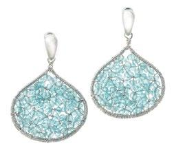 Sterling Silver Drop Earrings with Chain Drops Blue Topaz briolettes (Thailand)