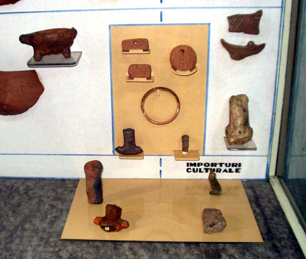136 CHAPTER VII Fig.VIIB.2. The group of the Tărtăria artefacts in a showcase of the Muzeul Naţional de Istorie a Transilvaniei Cluj-Napoca.